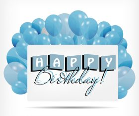Blue background birthday card vector