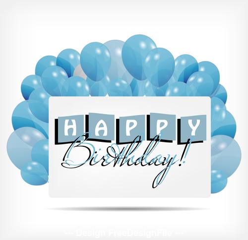 Blue background birthday card vector
