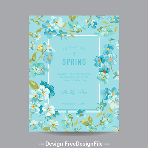 Blue background floral frame card vector