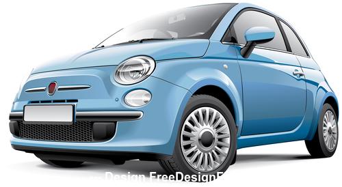 Blue mini car vector