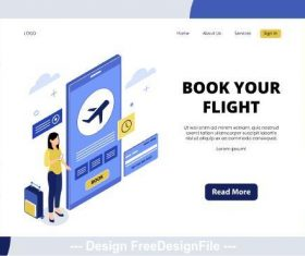 Book your flight isometric page vector