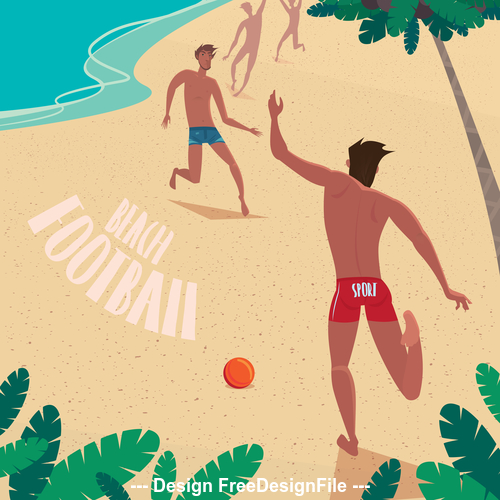 Boys playing with a ball on the beach vector