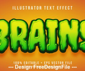 Brains editable font effect text vector