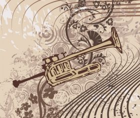 Brass instrument grunge background vector