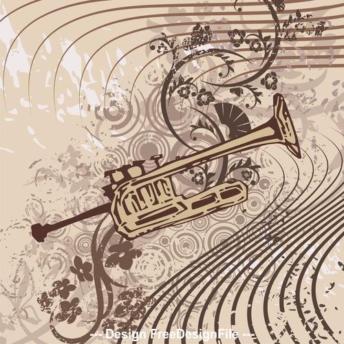 Brass instrument grunge background vector