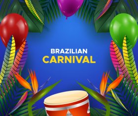 Brazil carnival decoration card vector