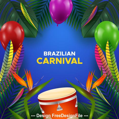 Brazil carnival decoration card vector