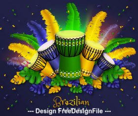 Brazil carnival holiday card vector