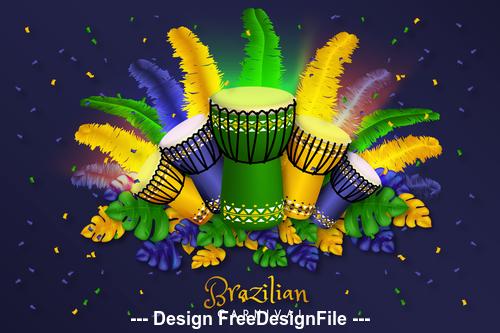 Brazil carnival holiday card vector