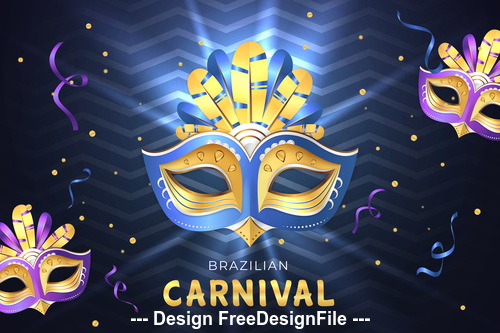 Brazil carnival mask background vector