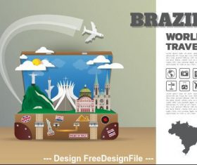 Brazil travel cartoon illustration vector
