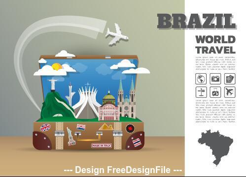 Brazil travel cartoon illustration vector