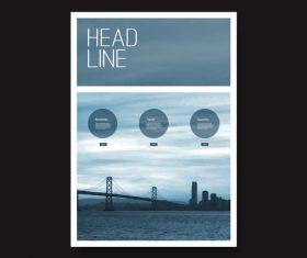 Bridge background color brochure design template vector