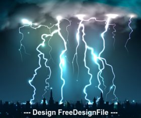 Bright blows lightning night sky realistic illustrations vector