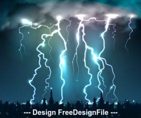 Bright blows lightning night sky realistic illustrations vector