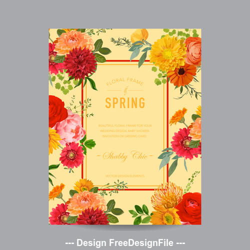 Bright floral frame card vector
