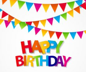 Bunting background birthday card vector