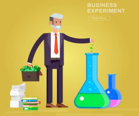 Business experiment cartoon illustration vector