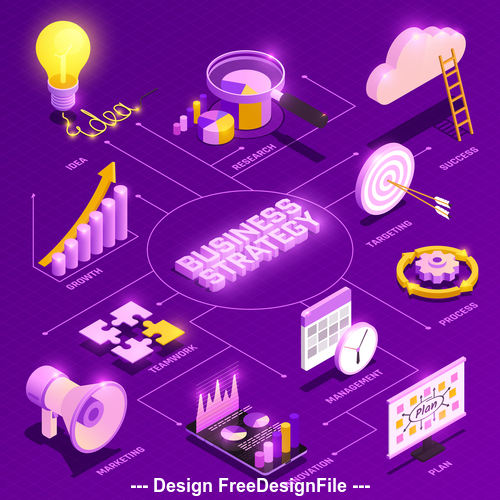 Business isometric symbols collection vector