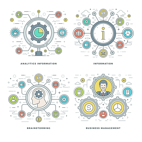 Business manacement information template vector