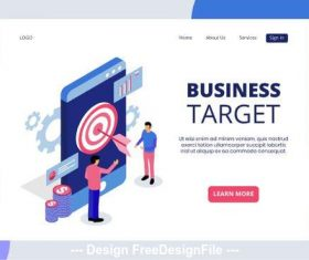 Business target isometric page vector