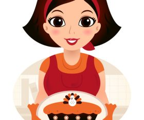 Cake made by mom cartoon vector