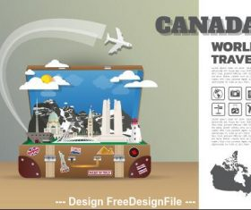 Canada travel cartoon illustration vector