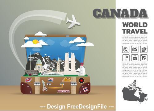Canada travel cartoon illustration vector