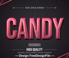 Candy editable font effect text vector