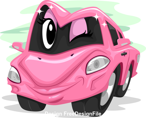 Car lady cartoon vector