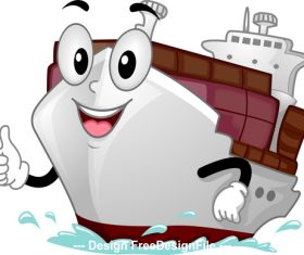 Cargo ship cartoon vector