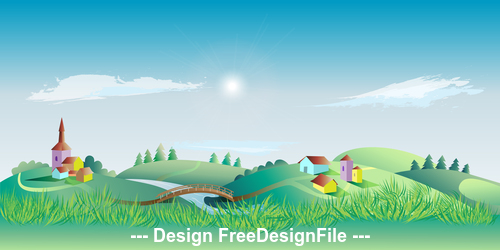 Cartoon building and nature landscape vector