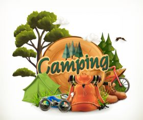 Cartoon camping element vector