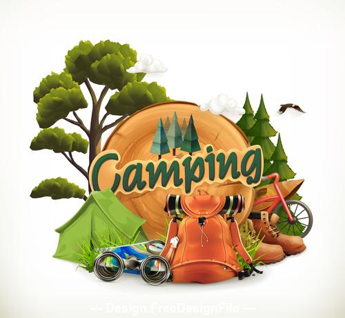 Cartoon camping element vector