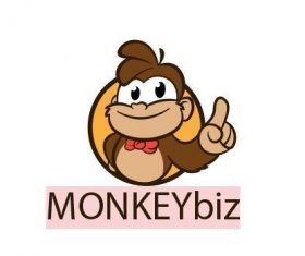 Cartoon cool monkey smiling logo vector