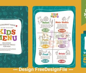 Cartoon cover kids menu vector