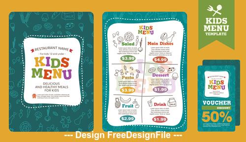 Cartoon cover kids menu vector