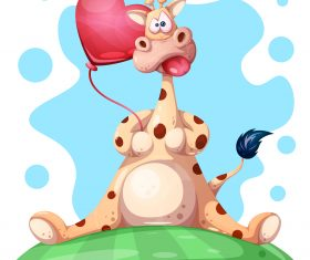 Cartoon cow and Heart balloon vector