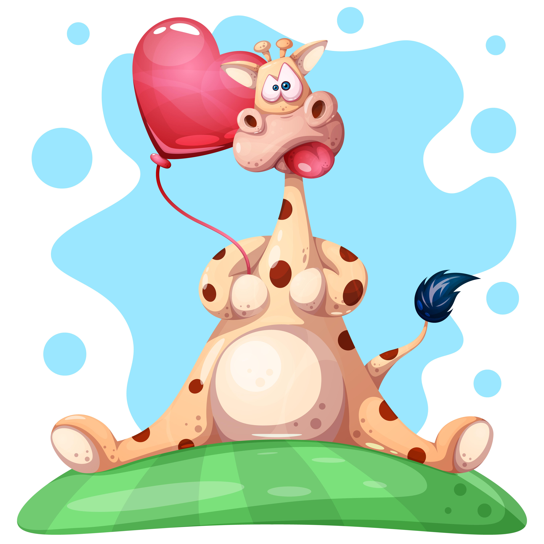 Cartoon cow and Heart balloon vector