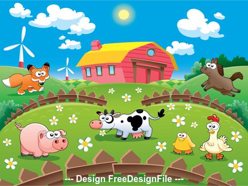Cartoon farm animal vector