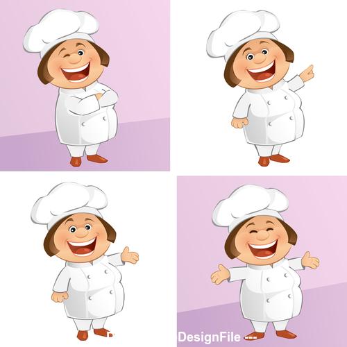 Cartoon female chef vector