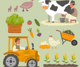 Cartoon illustration farm element vector