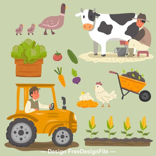 Cartoon illustration farm element vector