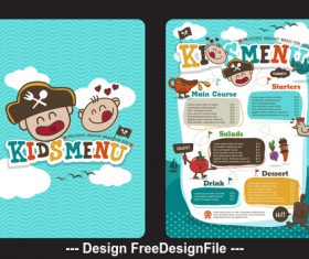Cartoon kids menu vector
