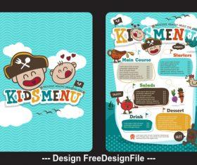 Cartoon kids menu vector