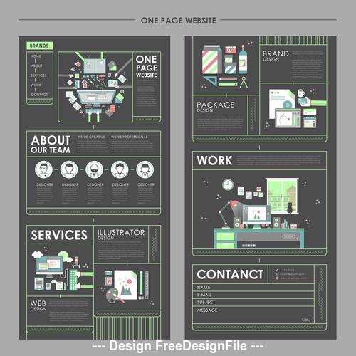 Cartoon one page website design template vector