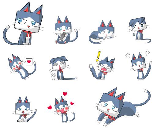Cat japanese manga vector