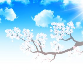 Cherry blossom under blue sky vector