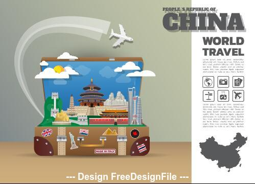 China travel cartoon illustration vector