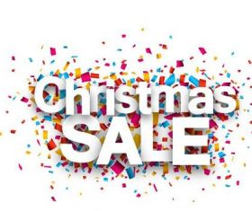 Christmas sale font and confetti vector